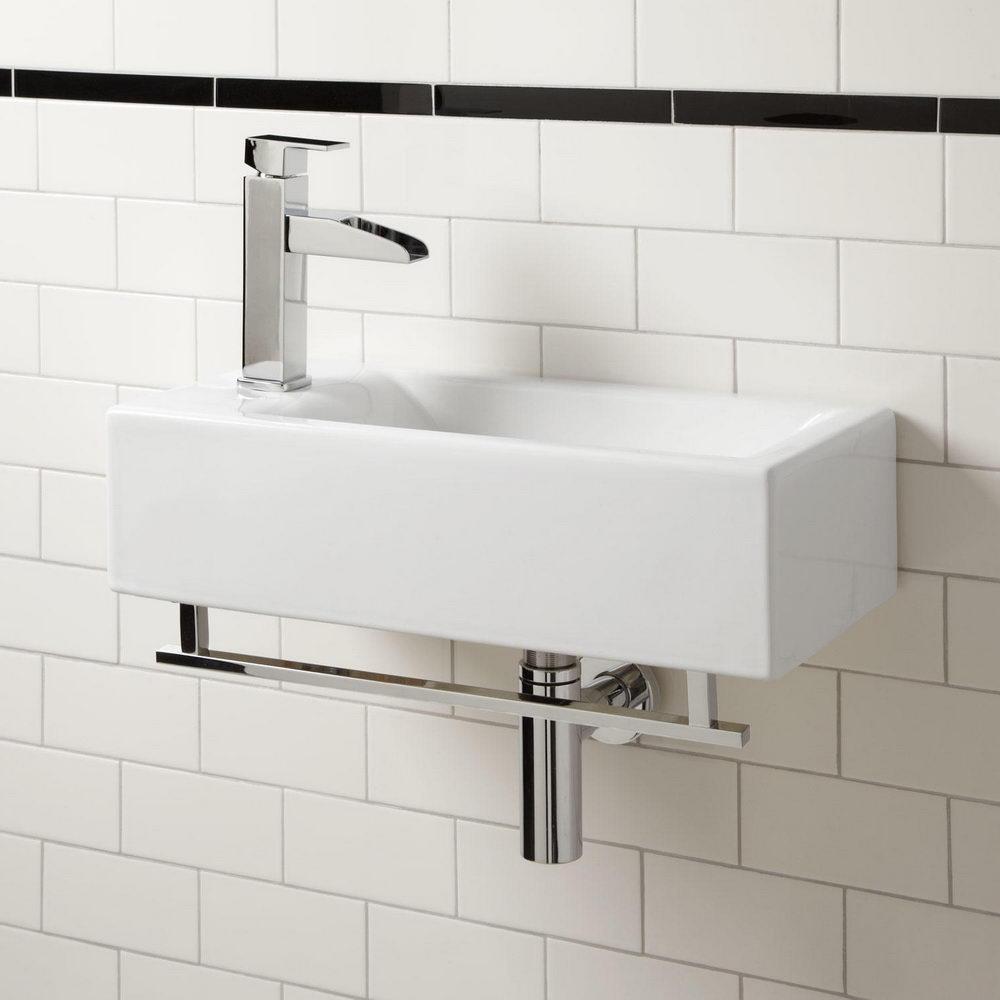 Narrow Bathroom Wall Storage: Small Rectangular Wall Mounted Bathroom Sink