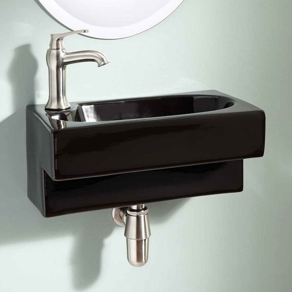 Wall Mount Black Bathroom Sink