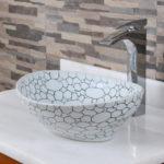 Oval Cobblestone Pattern Porcelain Bathroom Vessel Sink