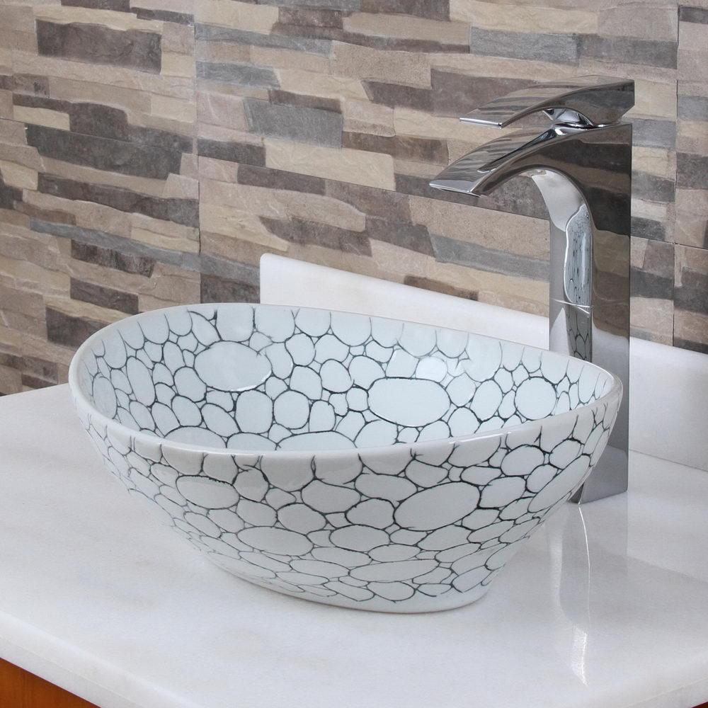 Oval Cobblestone Pattern Porcelain Bathroom Vessel Sink - Placing ...