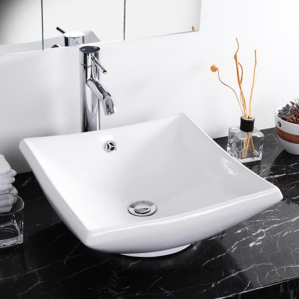 Porcelain Vessel Vanity Sink with Chrome Drain