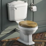 Close Coupled Toilet with Soft Close Solid Oak