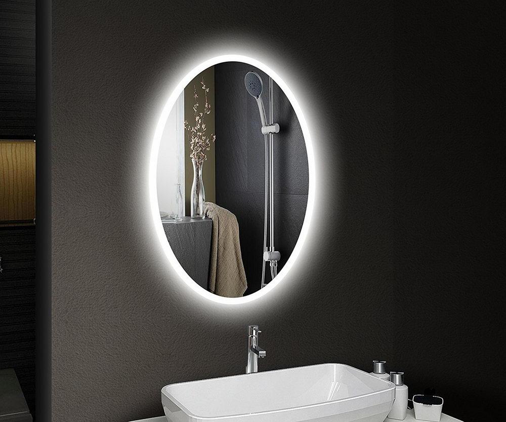Oval Lighted Bathroom Mirror