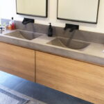 Polished Concrete Vanity Top with Integrated Sink