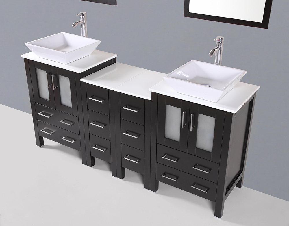 Square Vessel Sink Double Vanity